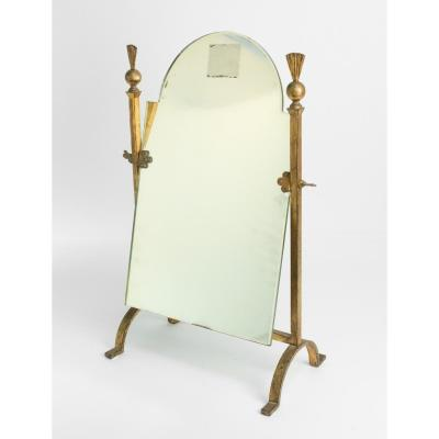 Mirror Golden Wrought Iron, Neoclassical 1960s, Mid Century Art