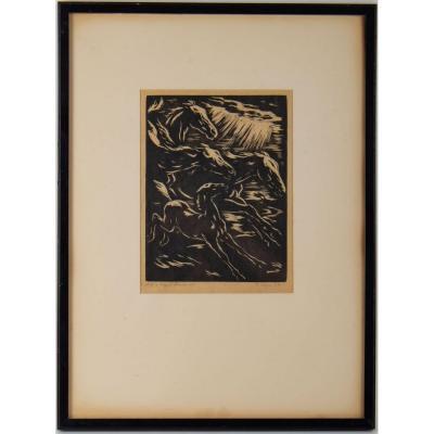 Gravure, Signée, 1928, Représentant Des Chevaux Stylisés En Course, Encadrée