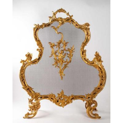 Important Pare Feu En Broze Doré Du XIXème Siècle, Epoque Napoléon III, Grande Décoration