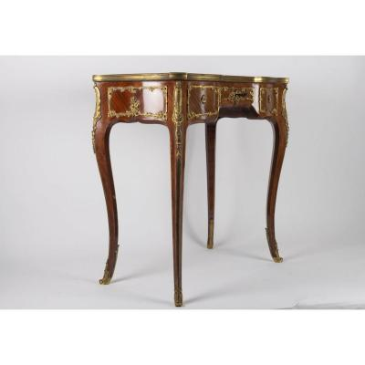 Napoleon III Era Desk, Louis XV Style, 1880, Signed Lucien Roulin, Marquetry And Bronze