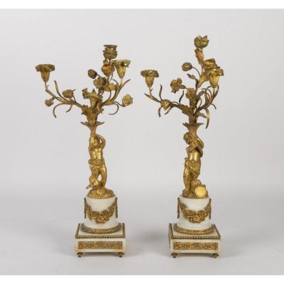 Paire De Candélabre En Bronze Doré Et Marbre, Epoque Napoléon III, 1880