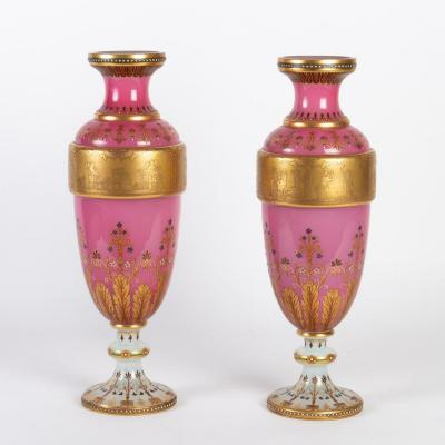 Pair Of Opaline Vases, Moser, Lined With White And Pink Opaline, Napoleon III Period