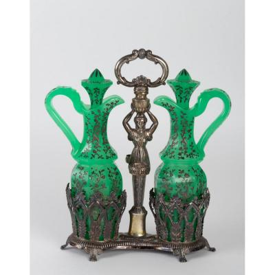 Oil And Vinegar In Green Opaline And Enamelled Gold In Its Silver Support, XIXth Century