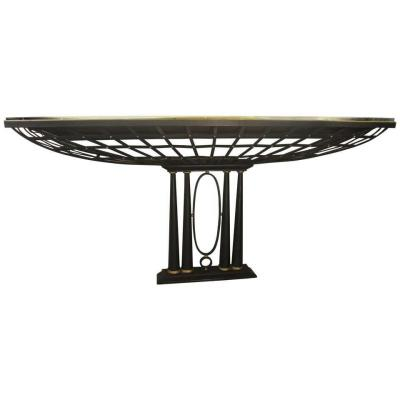 Important French Console In Black Wrought Iron And Gold