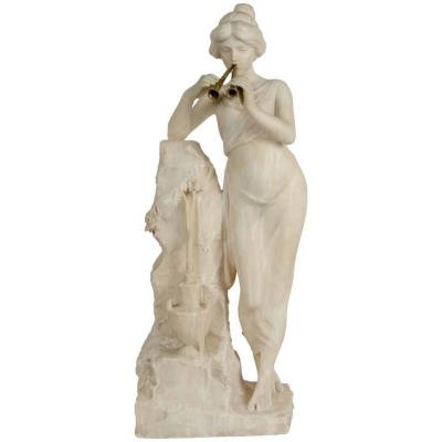 Alabaster, 19th Century, Woman With A Flute Beside The Fountain, Bronze Flute