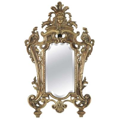 Mirror In Patinated Bronze, 19th Century, Napoleon III Period, Louis XV Style