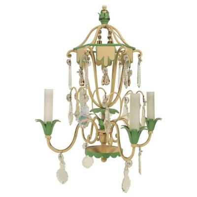 Very Pretty Small Chandelier From The 1950's In Painted Metals And Cristal.