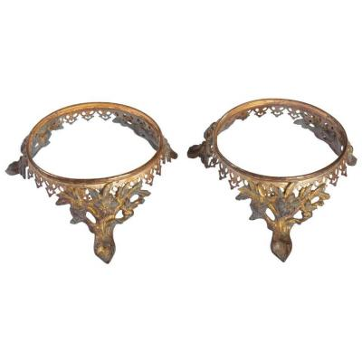 Pair Of Gilt Bronze Bases, 19th Century, Napoleon III Period
