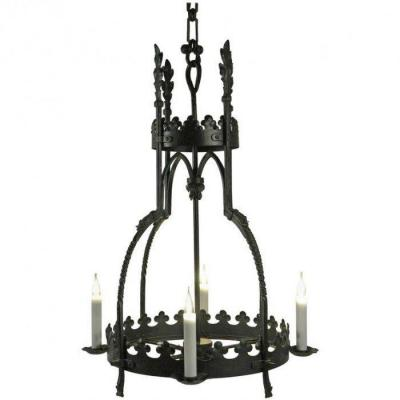 Hanging Lamp In The Gothic Style In Wrought Iron.