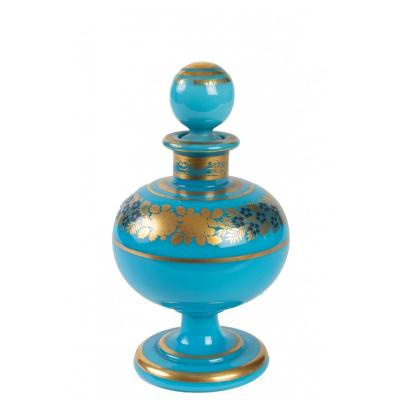 Turquoise Blue Opaline Perfume Bottle