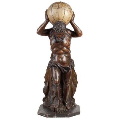 Atlas. Sculpture En Bois Sculpté