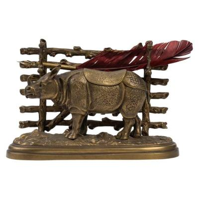 Encrier En Bronze Au Rhinocéros