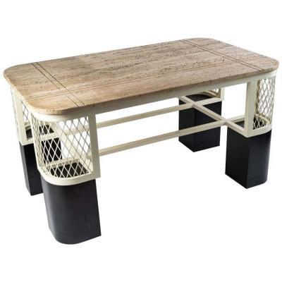 Importante Table Basse En Métal Peint