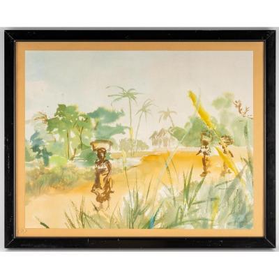 Aquarelle Sur Papier De Luez, Paysage Africain