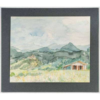 Paysage De Montagne, Aquarelle Sur Papier