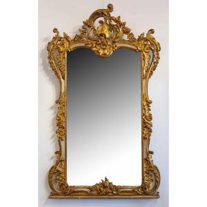 Grand Et Haut Miroir En Bois Sculpté Doré Et Peint, Style Louis XV
