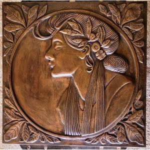 Bas Relief En Bronze d'Après Mucha