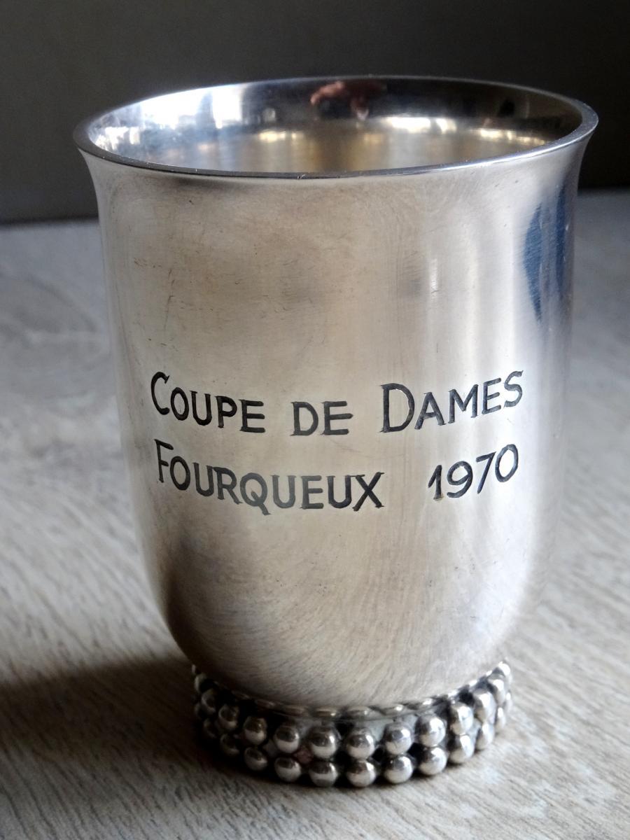 JEAN DESPRES .TIMBALE . COUPE DE GOLF. METAL ARGENTE.
