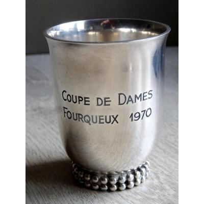 JEAN DESPRES .TIMBALE . COUPE DE GOLF. METAL ARGENTE.