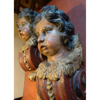 Pair Of Angelot Consoles. Period XVII Th.