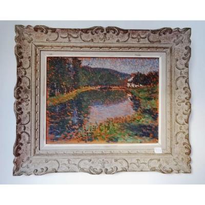 Pointillist Landscape. Ernest-lucien Bonnotte.