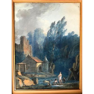 PIERRE-ANTOINE MONGIN .  PAYSAGE  ANIME en 1795. Gouache et aquarelle , encre ...
