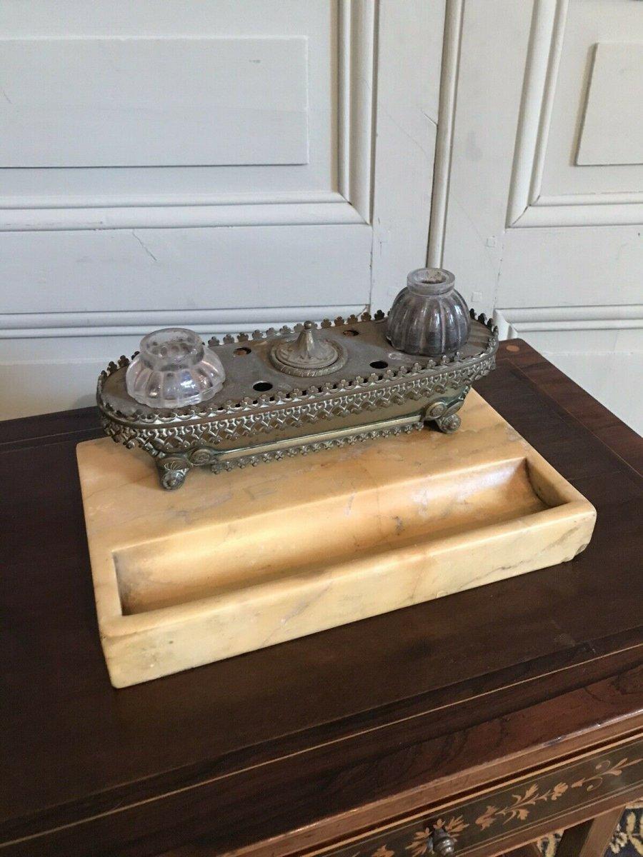 Encrier De Bureau époque Charles X Style Troubadour
