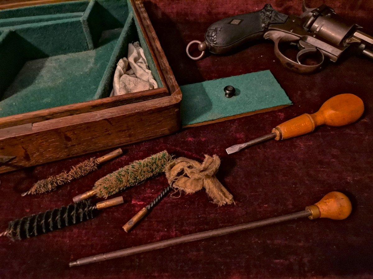 Révolver 9 Mm à Broche En Coffret Nécessaire C. 1870-photo-1