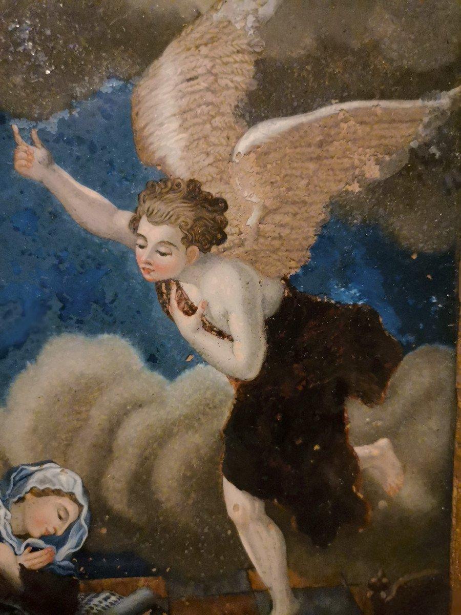 Peinture Religieuse Fixé-sous Verre Fin XVIIème Ou Début XVIIIème-photo-2