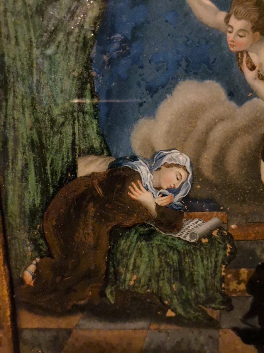 Peinture Religieuse Fixé-sous Verre Fin XVIIème Ou Début XVIIIème-photo-3