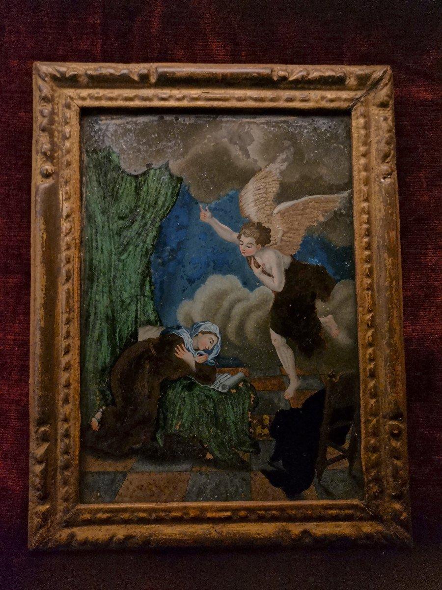 Peinture Religieuse Fixé-sous Verre Fin XVIIème Ou Début XVIIIème