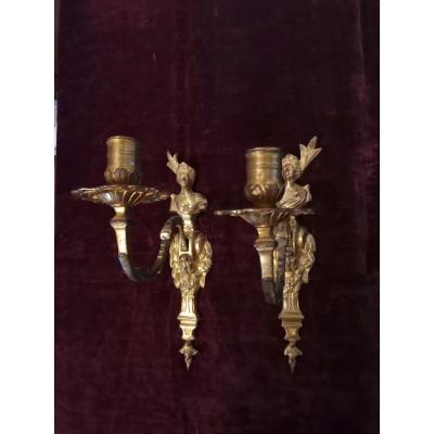 Paire d'Appliques Monofeux Aux Indiennes En Bronze Doré d'époque Régence