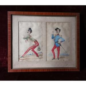 Aquarelle Représentant Deux Caricatures d'Officiers  De La Garde Impériale Du Second Empire