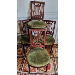 Suite De 4 Chaises à La Lyre En Acajou De Cuba De Style Louis XVI époque Fin XIXème