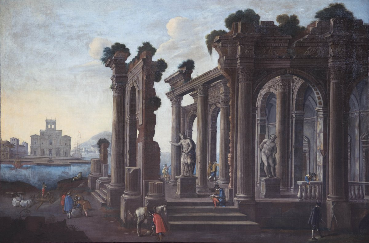 Capriccio Architectural Avec Les Statues De l'Hercule Farnèse De Giulio Cesare Et Villa Farnèse