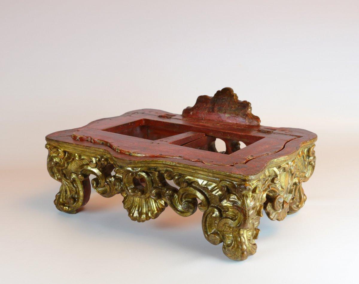 Pupitre De Table Baroque En Bois Richement Sculpté Et Doré. Turin, Vers 1730-1740.-photo-2