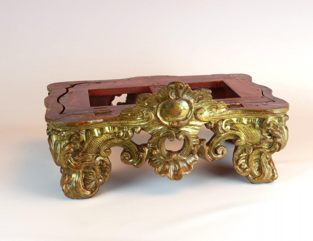 Pupitre De Table Baroque En Bois Richement Sculpté Et Doré. Turin, Vers 1730-1740.-photo-3