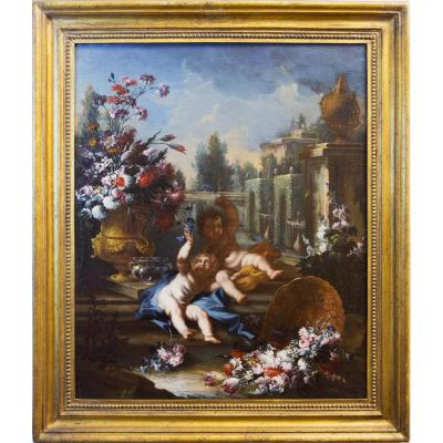 Still Life With Floral Triumphs And Two Children In A Garden. Signed F.co Lavagna P.