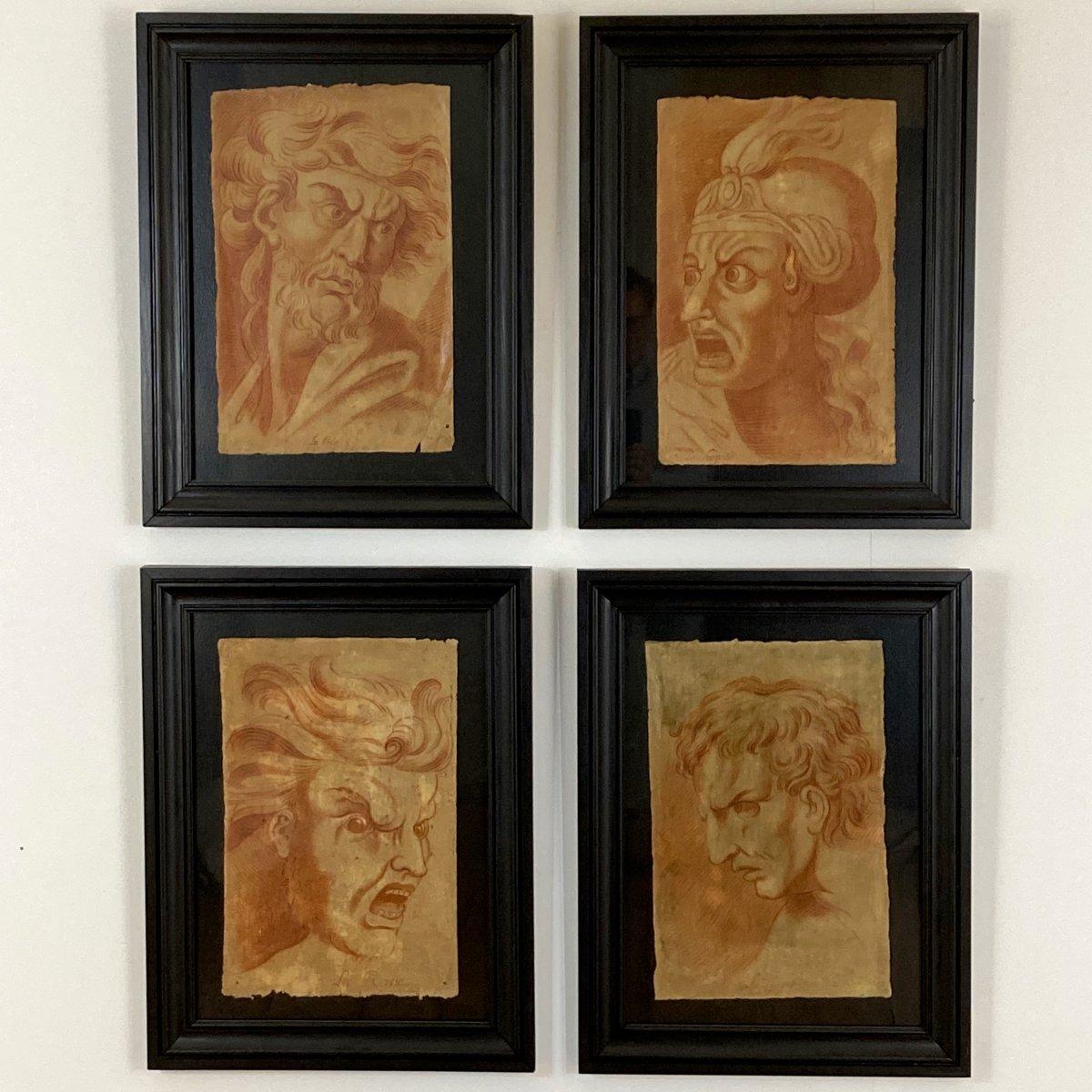 Suite De 4 études De Portraits XVIII