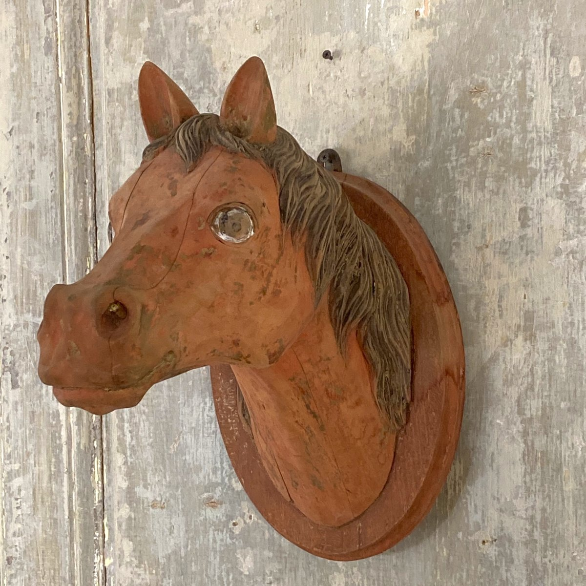 Carved Wooden Horse Head Sculpture Wood