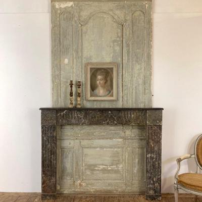 Cheminée XVIII en chêne peint