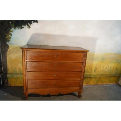 Louis XV Style Dresser In Walnut Massif XIX