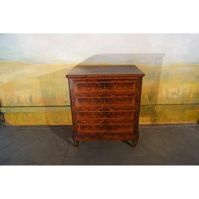 Small Mahogany Commode And Marquetry Louis Philippe