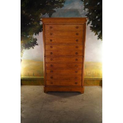 Large Commode, Notary Furniture In Solid Oak XIX