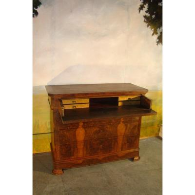 Commode Bureau In Walnut Louis Philippe Period