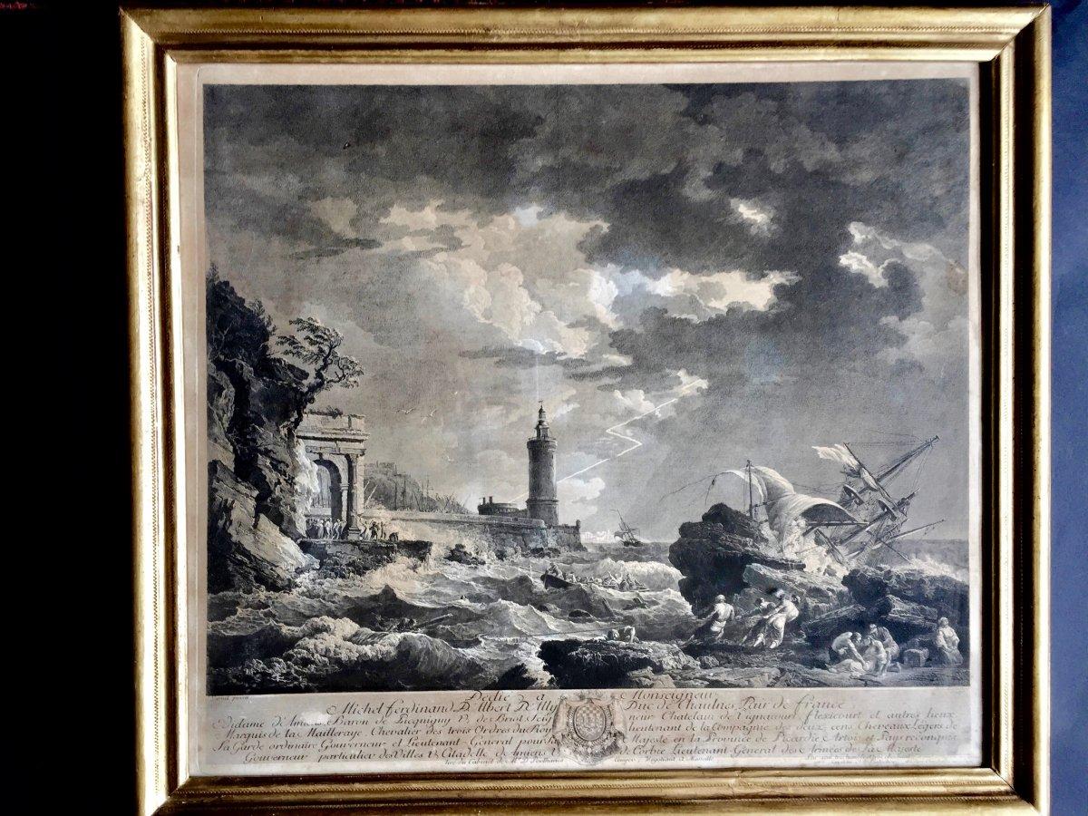Gravure d'Après Vernet Gravé Par Balechou Vers 1750
