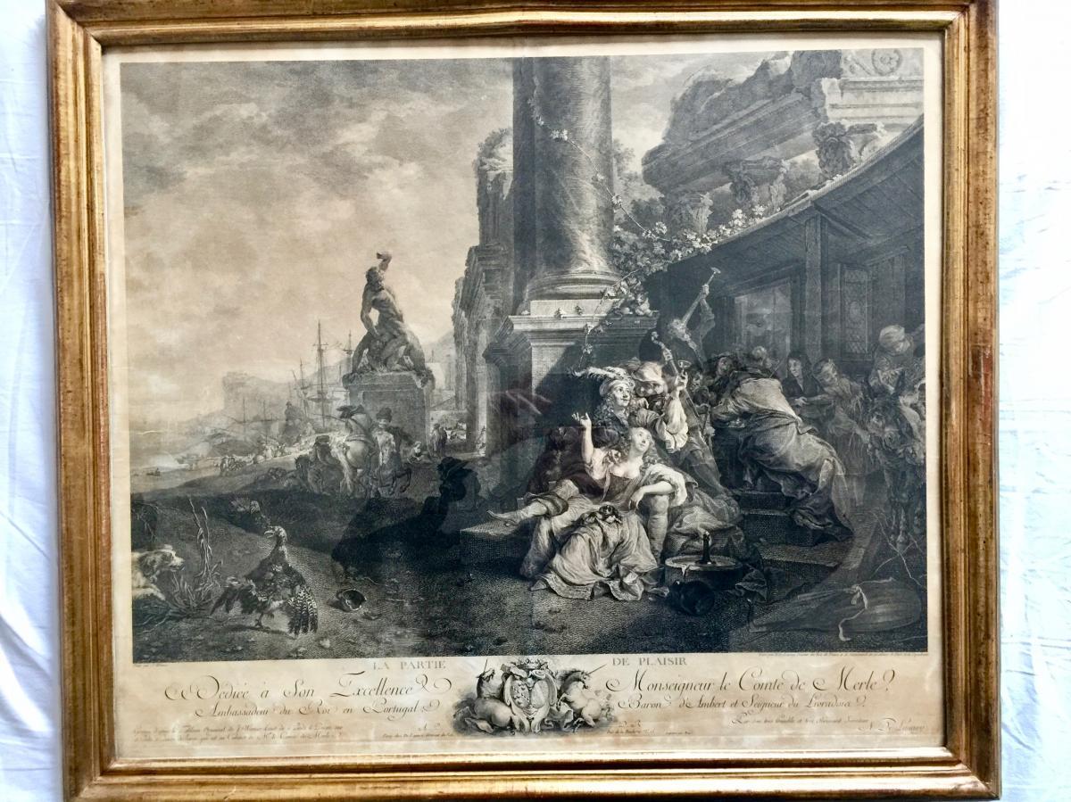 """Gravure """"la Partie De Plaisir"""" N. Delaunay Graveur 18 ème Siècle"""