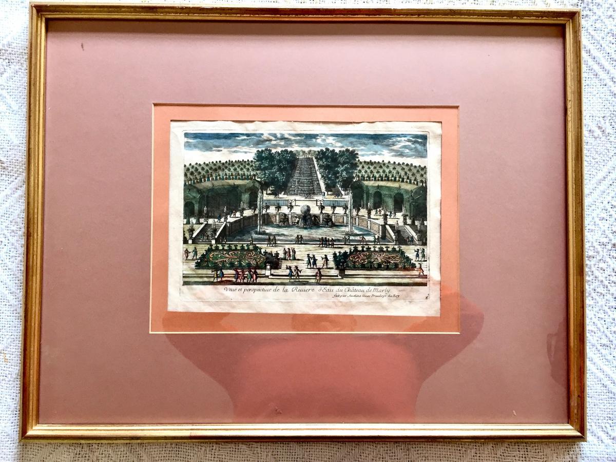 """Gravure """"la Rivière d'Eau Du Château De Marly"""" 18 ème"""