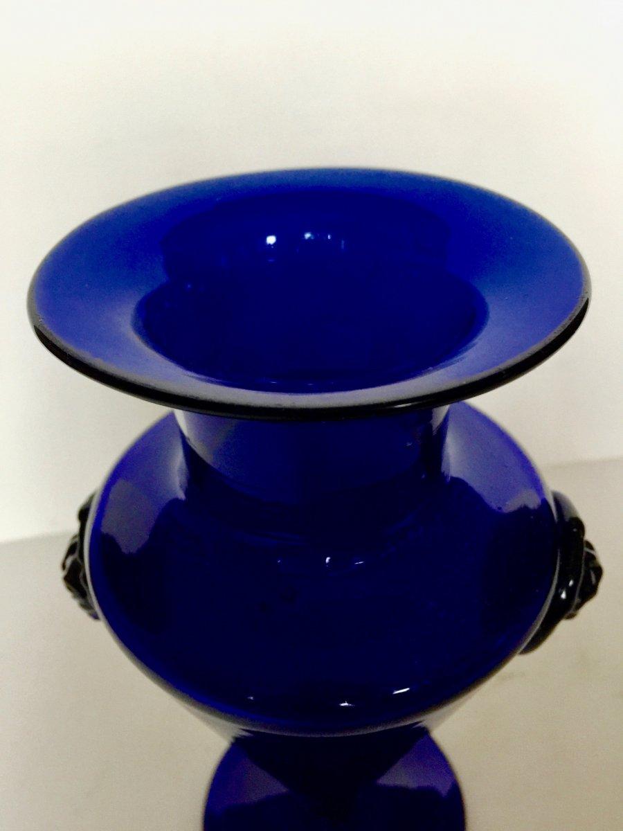 Vase En Verre Soufflé Bleu De Cobalt Bordeaux 18ème Siècle-photo-2