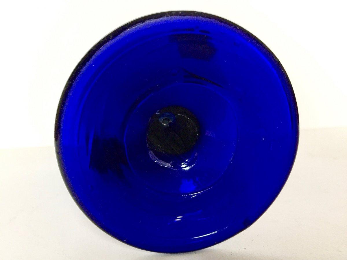 Vase En Verre Soufflé Bleu De Cobalt Bordeaux 18ème Siècle-photo-3